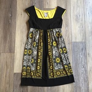 Black & Yellow Empire Waist Dress 4P